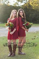 Wholesale Mini Brides Chiffon Dresses - 2016 Short Bridesmaid Dresses Burgundy with Half Sleeve Scoop Chiffon Mini Sash A Line Short Party Prom Dresses Bride Maid of Honor Dress