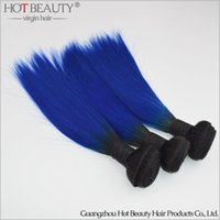 Wholesale Colorful Hair Dyes - 2016 Ombre Color 1B Blue Brazilian straight hair colorful hair ,Human Hair extension 3pcs lot Hot Beauty Ombre Hair