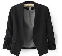 suits women achat en gros de-Nouveau Printemps 2016 Tops Blazer Femmes Bonbons Manteau Veste Court Survêtement Manteaux Vestes Sans Bouton De Base Costume Blazers livraison gratuite