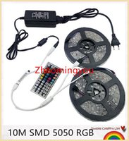 10M 5050 Strip LED RGB 60LEDs / m IP20 Led Diode Bande RGB 5050 SMD +44 touches Télécommande IR + 12V Power Adapter