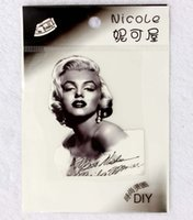 Wholesale Fashion Accessory Applique - Fashion Pattern 2Style Marilyn Monroe Patch Heat Transfer Stickers Iron On patches Applique garment accessories Wholesales 100pcs lot Free s