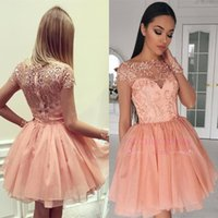 Wholesale glamorous line party dresses - Glamorous Sheer Long Sleeves Homecoming Dresses A Line Robe de soriee Graduation Cocktail Gowns Appliques Arabic 2017 Short Party Gowns