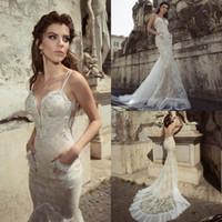 Wholesale Plunging Neckline Mermaid Wedding Dresses - 2016 Full Lace Wedding Dresses Appliqued Beaded Plunging Neckline Backless Bridal Gowns Sweep Train Mermaid Julie Vino Wedding Dress