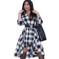 Wholesale Red Plaid Tunic - Casual Vintage Women 2017 Spring Autumn White Blue Red Mini Plaid Dresses Loose Tunic Party Shirt Dress Office Work Robe Femme q170669