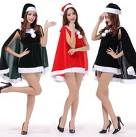 Wholesale Girls Santa Claus Clothing - Santa Claus Women Xmas Dress Set With Cloak Sexy Christmas Party Dance Costoume Clothes Red Green Black Fashion Dresses For Girls Ladies