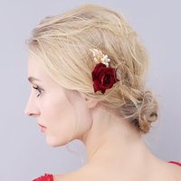 Wholesale bridal hair flower for sale - Group buy New Wedding Headpieces White Peals Red Rose Hairpins Women Hair Jewelry Flower Bridal Hair Accessories HP930
