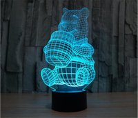 Wholesale Winnie Pooh Bears - Colorful 3D Decor Bulbing Light LED Winnie Pooh Bear Lighting Gadget Color Change Luminous Cartoon Table Lamp Nightlight for Child Gift