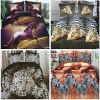 fundas de almohada con estampado floral al por mayor-Top Textiles para el hogar 3D animal impresión reactiva de algodón 4 unids juego de cama funda nórdica edredón / hoja de cama ropa de cama