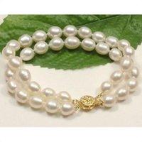 "Wholesale 14kt Gold Bracelets - genuine Natural stunning 2 rows AAA 10-12MM white akoya pearl bracelets 7.5-8 ""14KT"