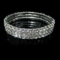 Wholesale Cheap Silver Rings Women - Amazing Cheap New 3 Bow Crystal Rhinestones Bangle Bracelet For Wedding Party In Stock Woman Bridal Jewelry Accessories Cheap 2016