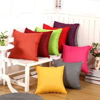 Wholesale Flaxen Color - Christmas Pillow Case Square Cushion Cover Candy Solid Pure Color Linen Flaxen Decorative Sofa Decoration Home Decor Gift Pillowcase Car