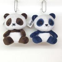 Wholesale Wholesale Panda Bear Plush - Fashion Fluffy Plush Doll Panda Toy Keychain Women Cute Pom Pom Bear Key Ring Trinket Pompom Bag Charms Key Holder Party Gift