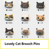 Wholesale Cheap Animal Brooches Pins - lovely cat brooch lapel pins handmade boutonniere stick with fabric cat shape for lady, girls, kids' clothers and bags, price cheap