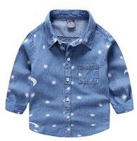 Wholesale Good Boy Collar - Good look white printed blue boy jean shirt thin denim fabric making pocket at front chest