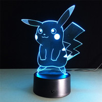 Wholesale Cute Desk Light - Cartton 3D Lamp Cute Pikachu Night Lights LED Night Lamp with 7 Colors Desk Lamp as Children Birthday& Holiday Gifts