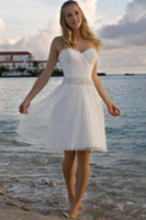 vintage tatlım toptan satış-2019 Yeni Yüksek Kalite Sevgiliye Rhinestone Tül Kısa Rahat Sahil Gelinlik Gelin Kıyafeti Ücretsiz Kargo 177