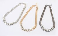 Wholesale Punk Coarse Chain Necklaces - Fashion Korean punk coarse snake chain women royal rhinestone bling short round crystal necklace 2016 new female jewelry