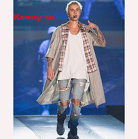 DHL libero Uomini gravi Tattered Washing Limited Versione personalizzata Hip Hop Fear Of God Fog Zippers Skinny Slim Elasticity Justin Bieber Jeans