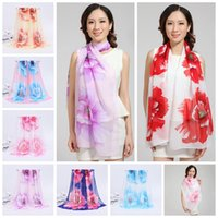 Wholesale Stole Chiffon - Woman Scarf Silk Brand Luxury Print Flower Polyester Ladies Chiffon Scrawl Flower Printed Wrap Scarf 100 PCS YYA466