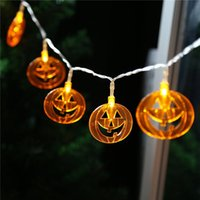 ingrosso le luci di zucca di halloween delle stringhe-Decorazioni di Halloween, luci di zucca, fantasmi, ragni, scheletri, pipistrelli, LED, luci, archi, 10 luci. 20 luci spedizione gratuita
