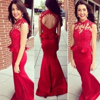 Wholesale Modest Cheap Peplum Dress - Sexy Back Peplum Red Prom Dresses 2016 Jewel Appliques Beads Backless Mermaid Sweep Train Modest Arabic Evening Party Red Carpet Gowns Cheap