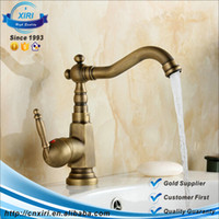 Wholesale Single Basin Mixer - Antique Brass Single Handle Bathroom Faucet Lavatory Vessel Sink Basin Mixer Tap Swivel Spout TAPS FG049