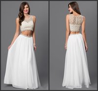 Wholesale Dresses Two Parts - White Dresses Two Parts Dresses 2016 Scoop Neck Chiffon Dress Cheap Price Lace Gown New Design Best Chosse For You Prom Free Shipping