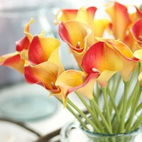 30pcs / Lot Artificial Calla Lily Real Touch Novia Bouquet Flor Home Wedding Decor Flores Coronas 10 Colores Color de la mezcla
