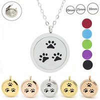 Wholesale Chain Closures - With chain as gift! 316L stainless steel silver 20mm 25mm 30mm magnetic closure aromatherapy Essential Oils Diffuser Locket Necklace