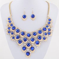 Wholesale Blue Bridal Jewellery Sets - African Beads Jewelry Set Crystal Statement Necklace Set Wedding Jewelry Set For Bridal Rhodium Gold Plated Jewellery Sets