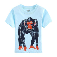 Classic outfits monkey - Apes T Shirts Boys Blue Monkey Jersey Gorilla Fashion Children T Shirt Outfits Summer Kids tee shirts top garment