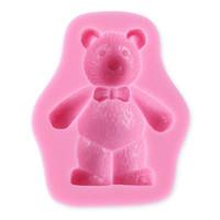 Wholesale Teddy Bear Chocolates - 3D Teddy Bear Silicone Fondant Mold Cake Soap Chocolate Baking Mould DIY 2017