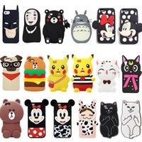 Wholesale Iphone5 Silicone Cartoon Covers - 18 styles 3D Cartoon Animals Soft Silicone Gel Back Rubber Case Cover For iPhone5 5s 6 6s 6 6s plus 7 7 plus Various
