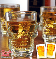 Wholesale blown glass skull online - 500ml Crystal Skull Head Glass cups Beer Cup Drinking Ware Handle for Home Bar Party Creative Halloween