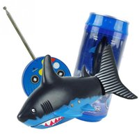 Wholesale Rc Boats Fishing - Drink Can Radio Remote control air shark RC Super mini Shark fish Boat Submarine Gift
