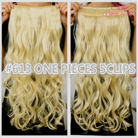 Wholesale Hair Extensions Blonde One Piece - 1pcs clip in hair extension women hair 30colors one piece 2pack for full head long wavy hair extension free shipping