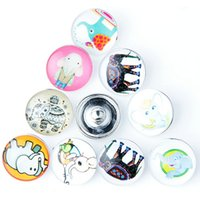 Wholesale Silver Panda Wholesale - 10pcs Panda elephant rabbit 18mm Button Ginger Snap Charms Jewelry Interchangeable Jewerly Charms Pendants Necklace Mixes 2016 Charms