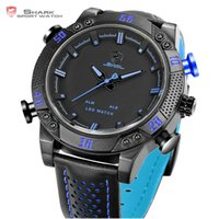 Wholesale Shark Sport Watch Digital - clock brand Kitefin Shark Sport Watch Brand Blue Outdoor Hiking Digital LED Electronic Watches Calendar Alarm Leather Band Men Clock  SH265