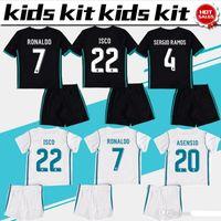 Wholesale Girls Kids Jersey - 2017 Real Madrid Kids soccer jersey 2018 Real Madrid Kids set RONALDO BENZEMA ISCO BALE SERGIO RAMOS MORATA ASENSIO kids uniform boy girls