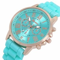 Wholesale Jelly Rubber Womens Wrist Watch - Geneva silicone watch unisex mens womens luxury watches roma dial rubber quartz watches jelly candy wrist watches for women mens 100pcs