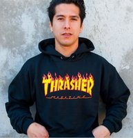 Wholesale Asian Size L S - Asian Size Trasher Skateboard Magazine Fire Hoodie men women black gray green 100% cotton Fashion Streetwear trasher Skate Hoodie Free Ship