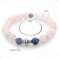 Wholesale Pink Buddha Bracelet - 2016 Pink Natural Stone Beads Buddha Bracelets Bangles Fashion Silver Jewelry Elastic Charm Bracelets For Women Bijoux SBR150249