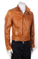 Wholesale Tan Leather Jacket Men - Designer leather jackets Men outdoor slim casual leather jackets top end locomotive leather jackets tan enfold stand collar