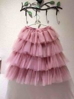 Wholesale Kids Long Tutu Skirt Ankle - Girls Princess Skirt Spring autumn new Children Tiered tulle cake Skirt kids sweet long skirts children all -match skirt Kids clothing A9909