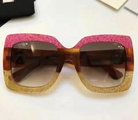 Wholesale Crystal Eye Lens - 2017 New fashion sunglasses women 0083 6 colors frame shiny crystal design square big frame hot lady design UV400 lens with original case