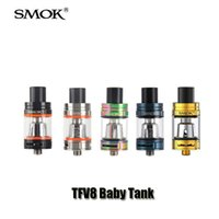 Wholesale 3ml Atomizers - Authentic Smok TFV8 BABY Beast Tank 2 3ml TPD Top Filling Airflow Control Atomizer with Turbo engines For 510 thread Mod