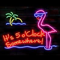 rosa neonlichtleiste groihandel-Es ist 5 Uhr irgendwo Pink Flamingo Echtglas Neonlicht-Schild Startseite Bier Bar Pub Aufenthaltsraum Spielzimmer Fenster Garage Wandschild