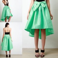 Grass Green High Low Skirt 2017 Frühling Sommer Ribbon Schärpen Short Prom Party Kleider Rüschen Satin Chiffon Günstige Damenbekleidung Custom Fit