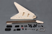 "Wholesale Electric Guitar Kits Mahogany Body - Flying ""V"" style 4 strings electric bass guitar DIY kit"