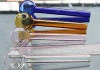 ücretsiz pembe tüp toptan satış-DHL Ücretsiz Süper büyük renkli Yağ Brülör Kalın 20 cm cam boru renkli cam tüp cam puf kase mavi yeşil amber pembe tüm temizle